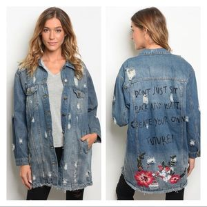 Jackets & Blazers - Denim distressed  graphic jacket
